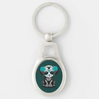 Cute Blue Day of the Dead Puppy Dog Teal Key Chains