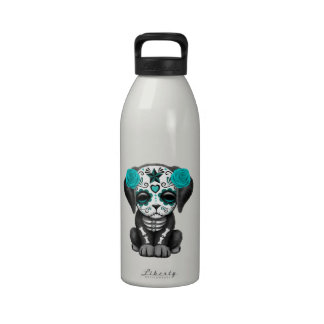 Cute Blue Day of the Dead Puppy Dog Drinking Bottle