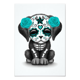 Cute Blue Day of the Dead Puppy Dog White Announcement