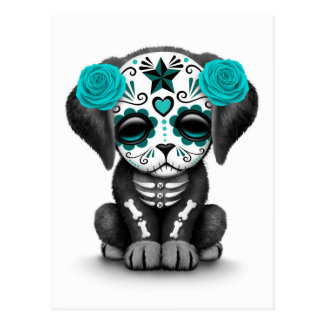 Cute Blue Day of the Dead Puppy Dog White Postcard