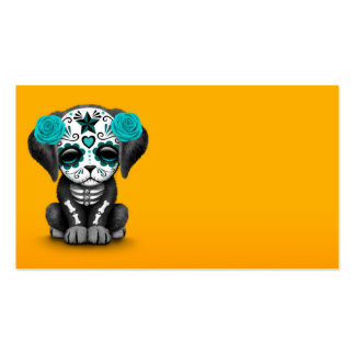 Cute Blue Day of the Dead Puppy Dog Yellow Business Card