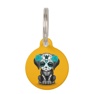 Cute Blue Day of the Dead Puppy Dog Yellow Pet Name Tag
