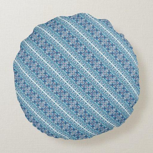 Round Blue Decorative Pillows : Cute blue decorative ukrainian patterns design round pillow Zazzle