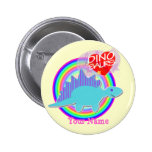 Cute Blue Dino I love Dinosaurs Your Name Button