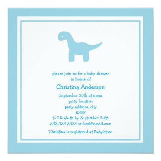Cute Blue Dinosaur Baby Shower Invitation