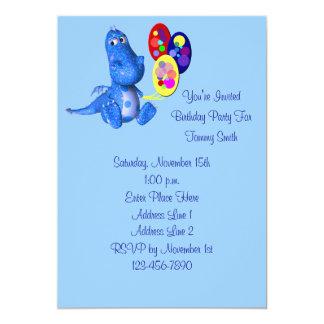 Cute Blue Dinosaur Birthday Party Invitation