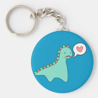 Cute Blue Dinosaur Mustache Basic Round Button Keychain