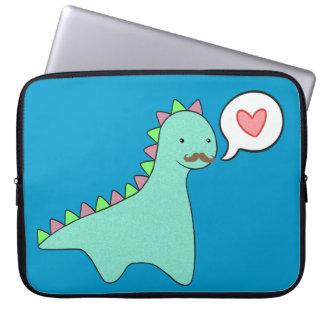Cute Blue Dinosaur Mustache Laptop Computer Sleeves