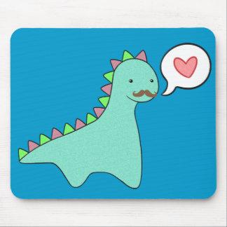 Cute Blue Dinosaur Mustache Mouse Pad
