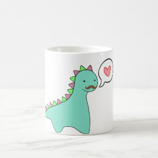 Cute Blue Dinosaur Mustache Coffee Mug