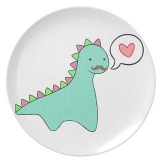 Cute Blue Dinosaur Mustache Dinner Plates