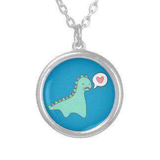 Cute Blue Dinosaur Mustache Round Pendant Necklace