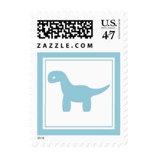 Cute Blue Dinosaur Stamp