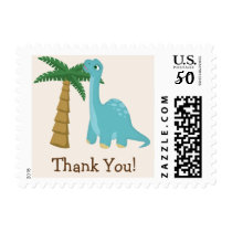 Cute Blue Dinosaur Thank You Postage