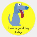 Cute Blue Dog I Was A Good Boy Reward Stickers