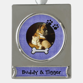 Cute Blue Doggy Christmas Ornament Silver Plated Banner Ornament