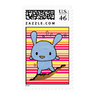 Cute blue doggy postage stamp