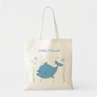 Cute Blue Dolphin School Book Library Canvas Bag
