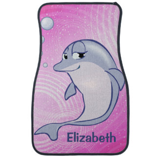 Cute Blue Dolphin To Personalize Car Floor Mat