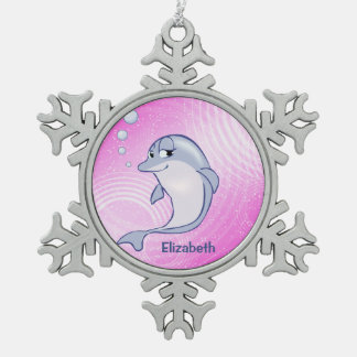 Cute Blue Dolphin To Personalize Ornament