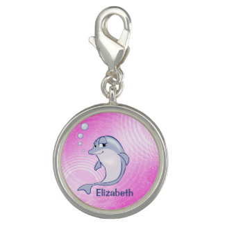 Cute Blue Dolphin To Personalize Photo Charms
