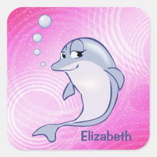 Cute Blue Dolphin To Personalize Square Sticker