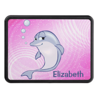 Cute Blue Dolphin To Personalize Tow Hitch Cover