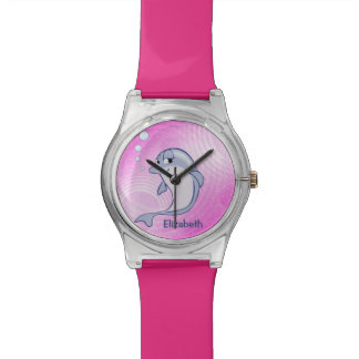 Cute Blue Dolphin To Personalize Wrist Watches
