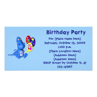Cute Blue Dragon Balloons Birthday Invitation