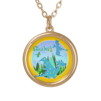 Cute Blue Dragon Gold Plated Necklace