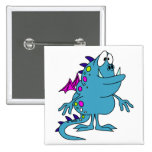 cute blue dragon monster creature buttons
