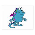 cute blue dragon monster creature postcard