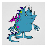 cute blue dragon monster creature posters