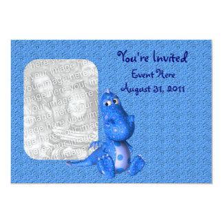 """Cute Blue Dragon Photo Invitation 5"""" X 7"""" Invitation Card"""