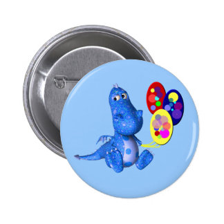 Cute Blue Dragon With Balloons Button