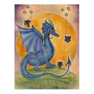 Cute blue dragon with bears and stars postcard