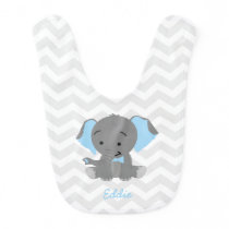 Cute Blue Eared Elephant Bib
