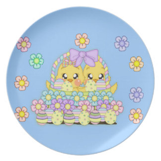 Cute Blue Easter Chick Plate