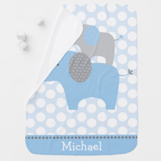 Cute Blue Elephant Baby Blanket
