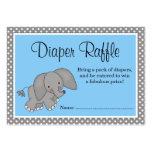 Cute Blue Elephant Baby Shower Diaper Raffle Business Card Templates