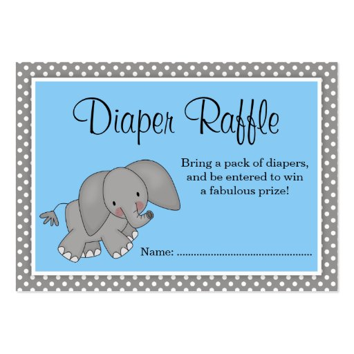 Cute Blue Elephant Baby Shower Diaper Raffle Large Business Cards ...