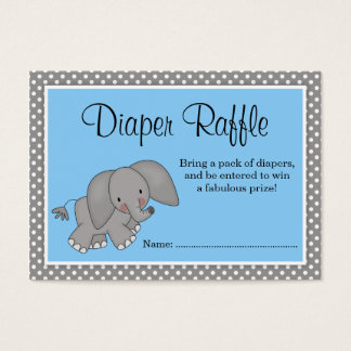 Cute Blue Elephant Baby Shower Diaper Raffle Business Card