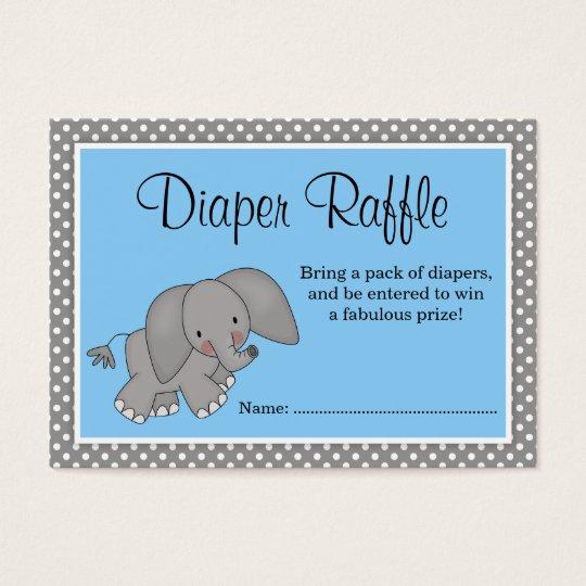 Good Cute Blue Elephant Baby Shower Diaper Raffle Business Card