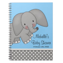 Cute Blue Elephant Baby Shower Guest Book