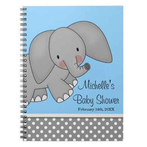 Cute Blue Elephant Baby Shower Guest Book Spiral Note Books