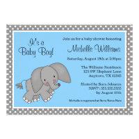 Cute Blue Elephant Boy Baby Shower Custom Announcement