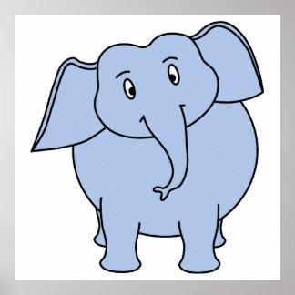Cute Blue Elephant Cartoon. Poster