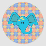 Cute Blue Elephant Face Round Stickers
