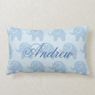 Cute blue elephant lumbar pillow for baby boy