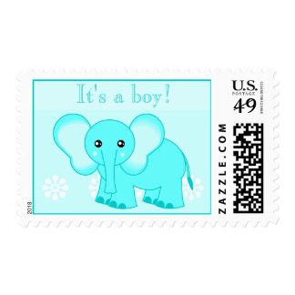 Cute Blue Elephant Postage Stamp - It's a boy!
